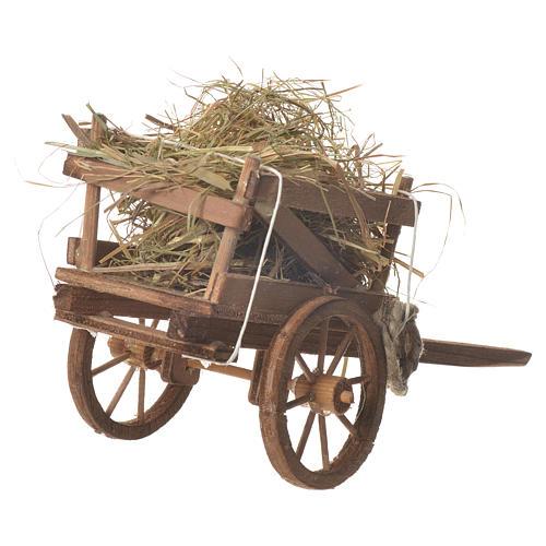 Cart with hay, Neapolitan nativity 18x6cm 3