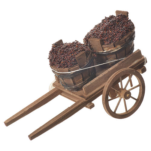 Cart with tubs, Neapolitan nativity 18x6cm 1