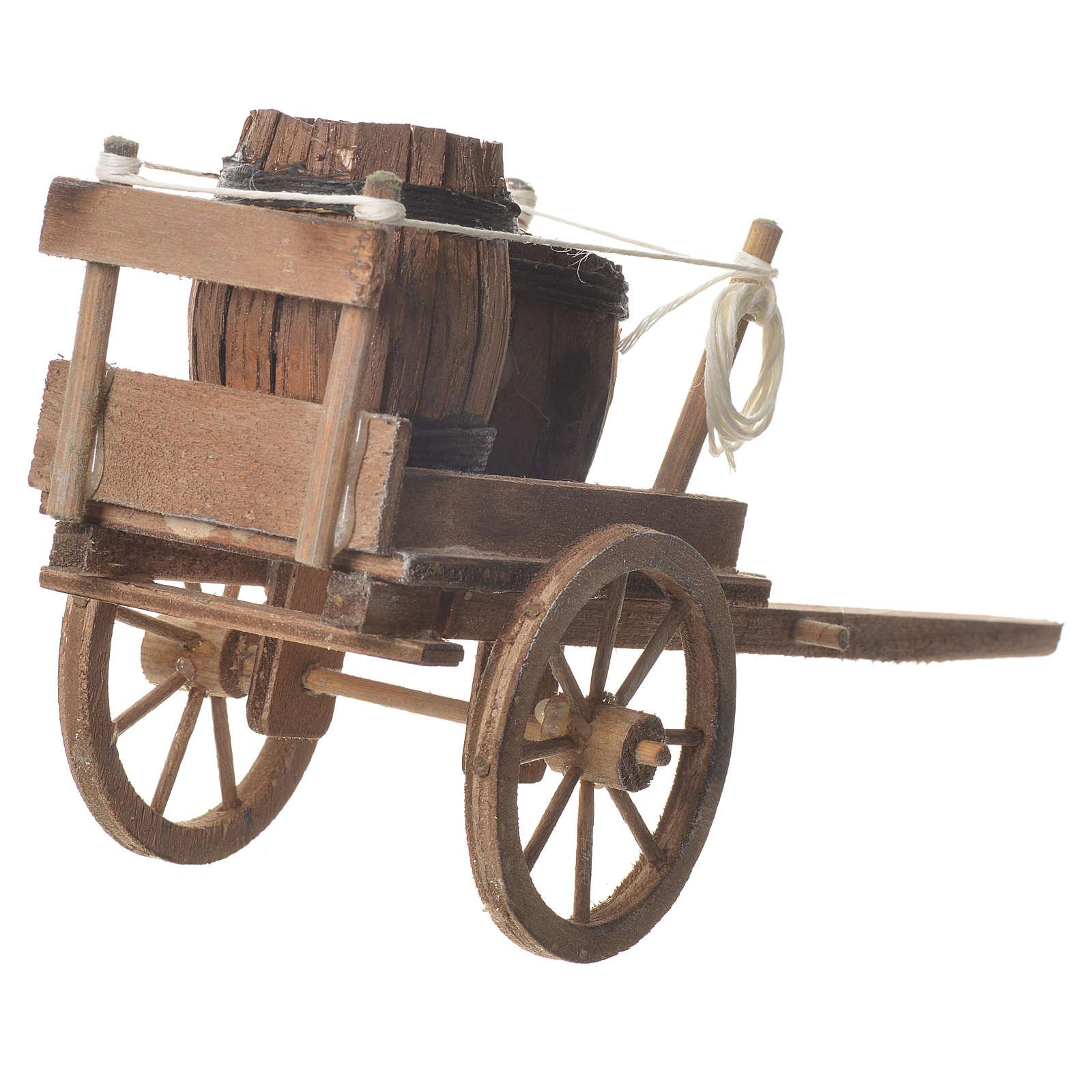 Cart with casks, Neapolitan nativity 18x6cm 4