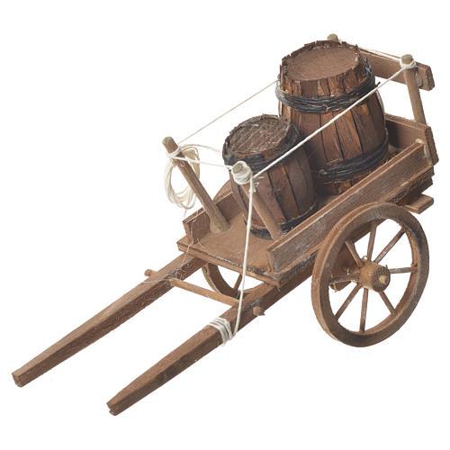 Wóz z beczkami szopka neapolitańska 18x6 cm 1
