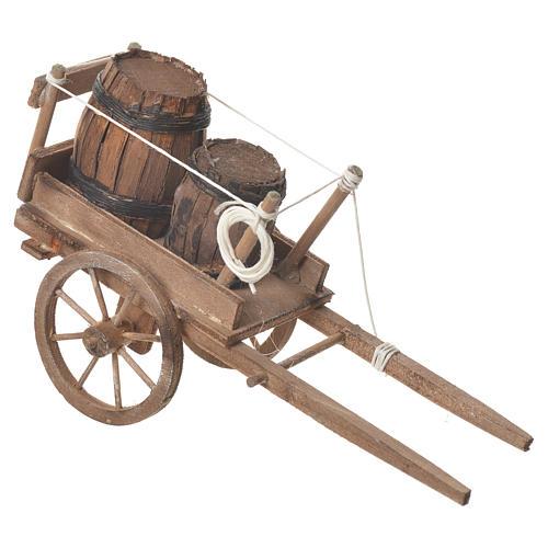 Wóz z beczkami szopka neapolitańska 18x6 cm 2