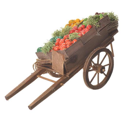 Wóz owoce w skrzynce szopka neapolitańska 18x6 cm 1