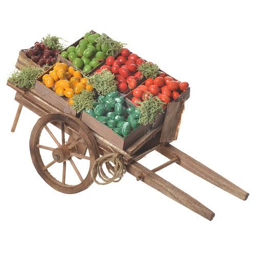 Wóz owoce w skrzynce szopka neapolitańska 18x6 cm 2