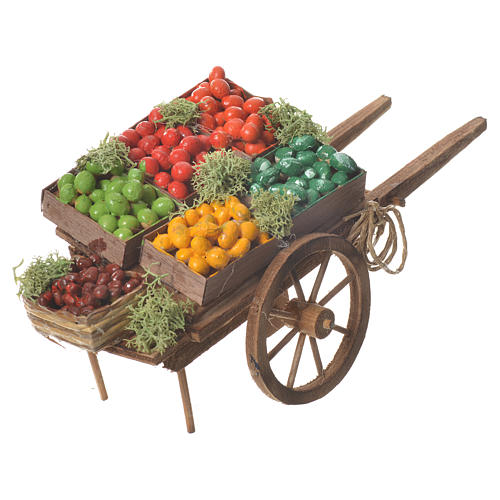Wóz owoce w skrzynce szopka neapolitańska 18x6 cm 3