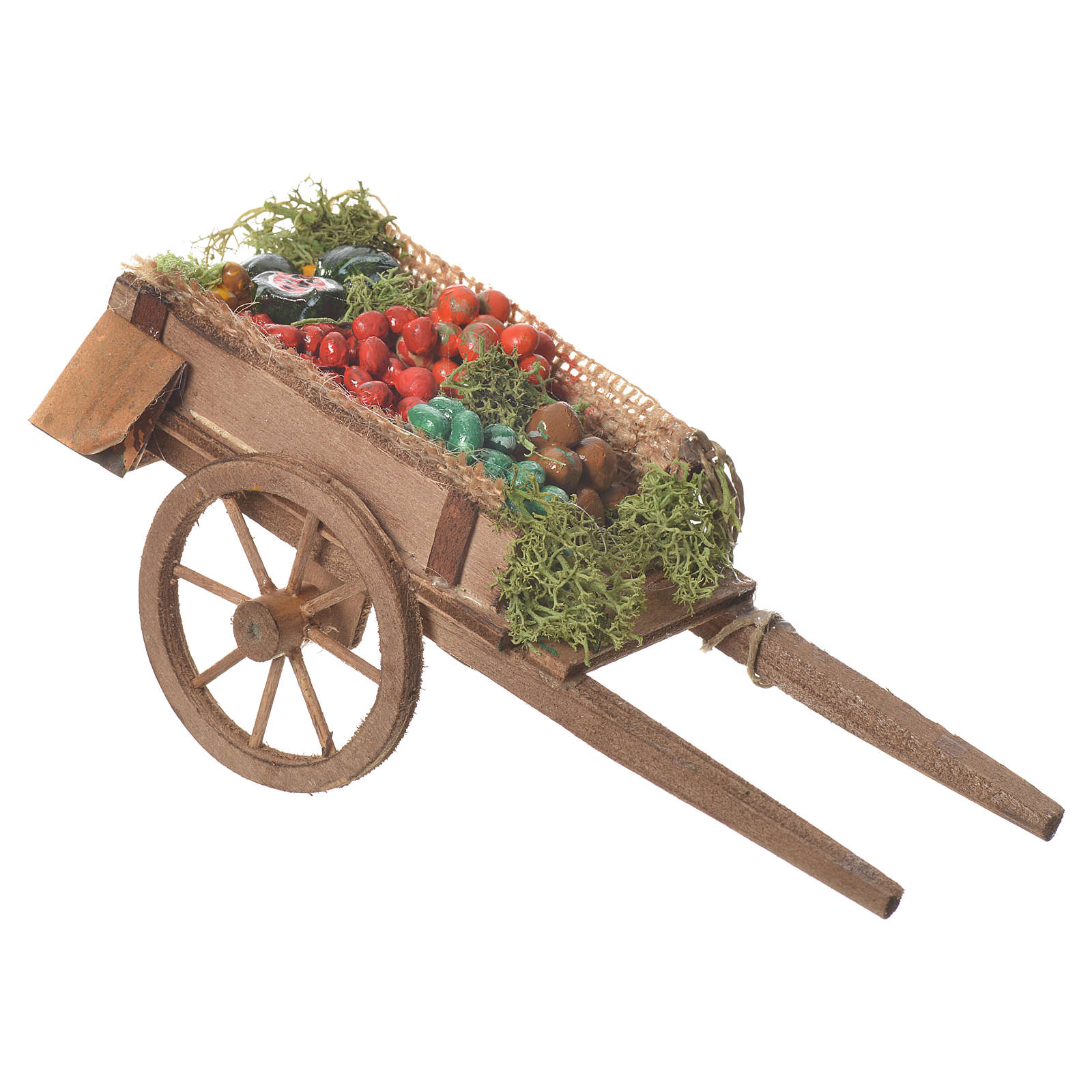 Neapolitan nativity accessory, loose fruit cart 18x6cm 4
