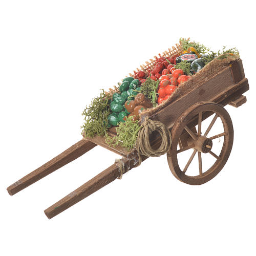 Neapolitan nativity accessory, loose fruit cart 18x6cm 1