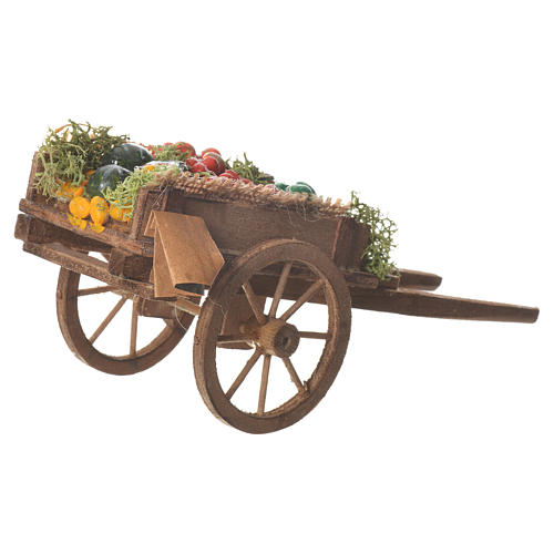 Neapolitan nativity accessory, loose fruit cart 18x6cm 3