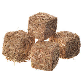 Hay bales for nativities, set of 4 2x2x2.5cm s1