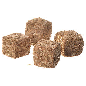 Hay bales for nativities, set of 4 2x2x2.5cm s2