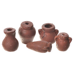 Home accessories miniatures: Assorted Amphorae in terracotta, 5 pieces for nativities