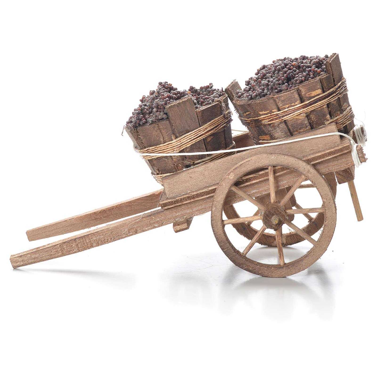 Cart with tubs, Neapolitan Nativity 10x18x8cm 4