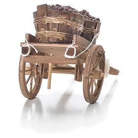 Cart with tubs, Neapolitan Nativity 10x18x8cm s3