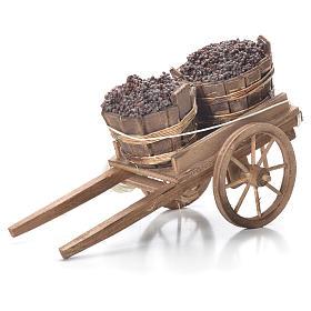 Cart with tubs, Neapolitan Nativity 10x18x8cm s1
