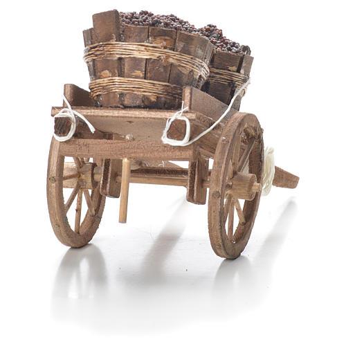 Cart with tubs, Neapolitan Nativity 10x18x8cm 3