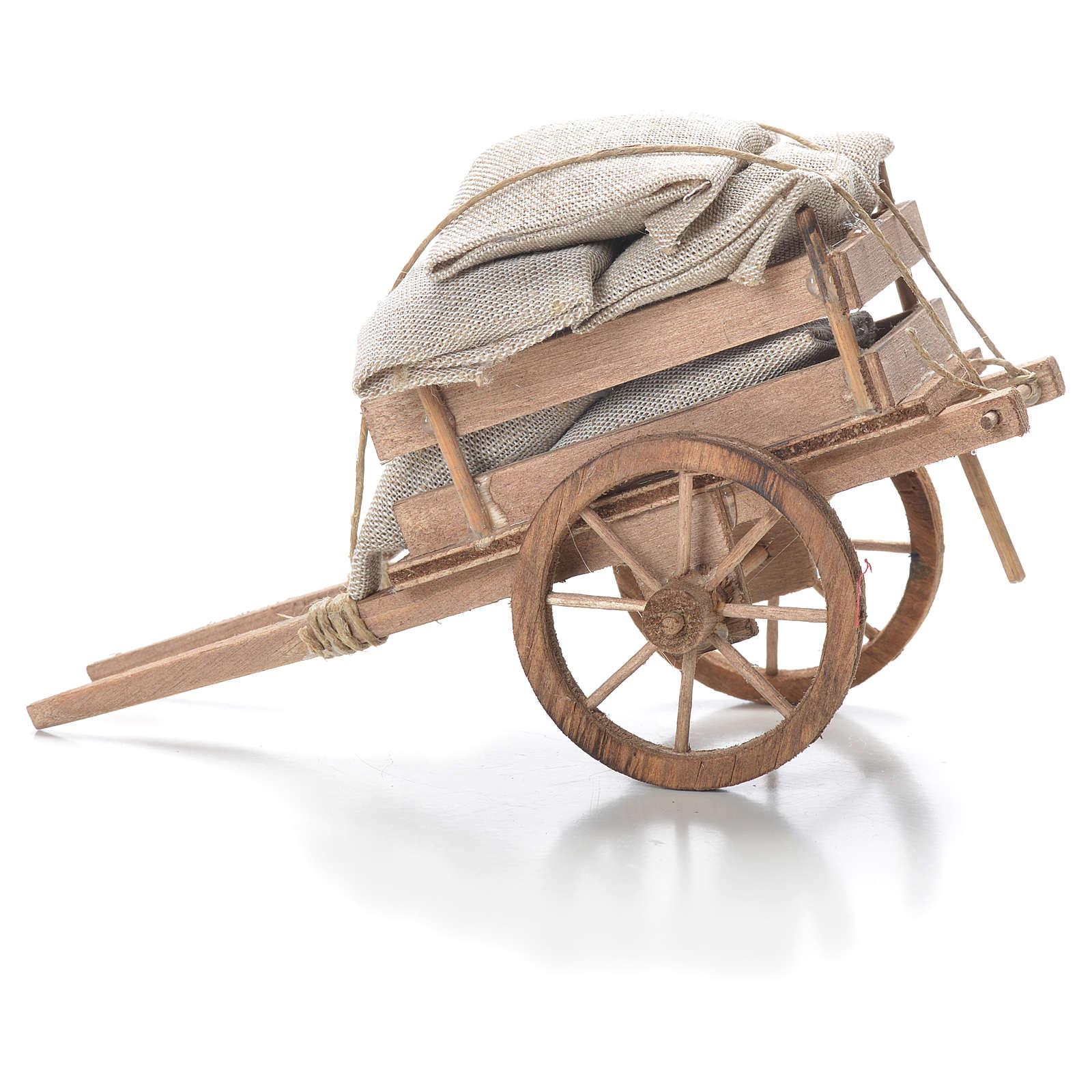Cart with sacks, Neapolitan Nativity 10x18x8cm 4