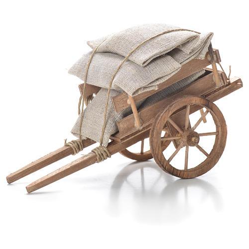 Cart with sacks, Neapolitan Nativity 10x18x8cm 1