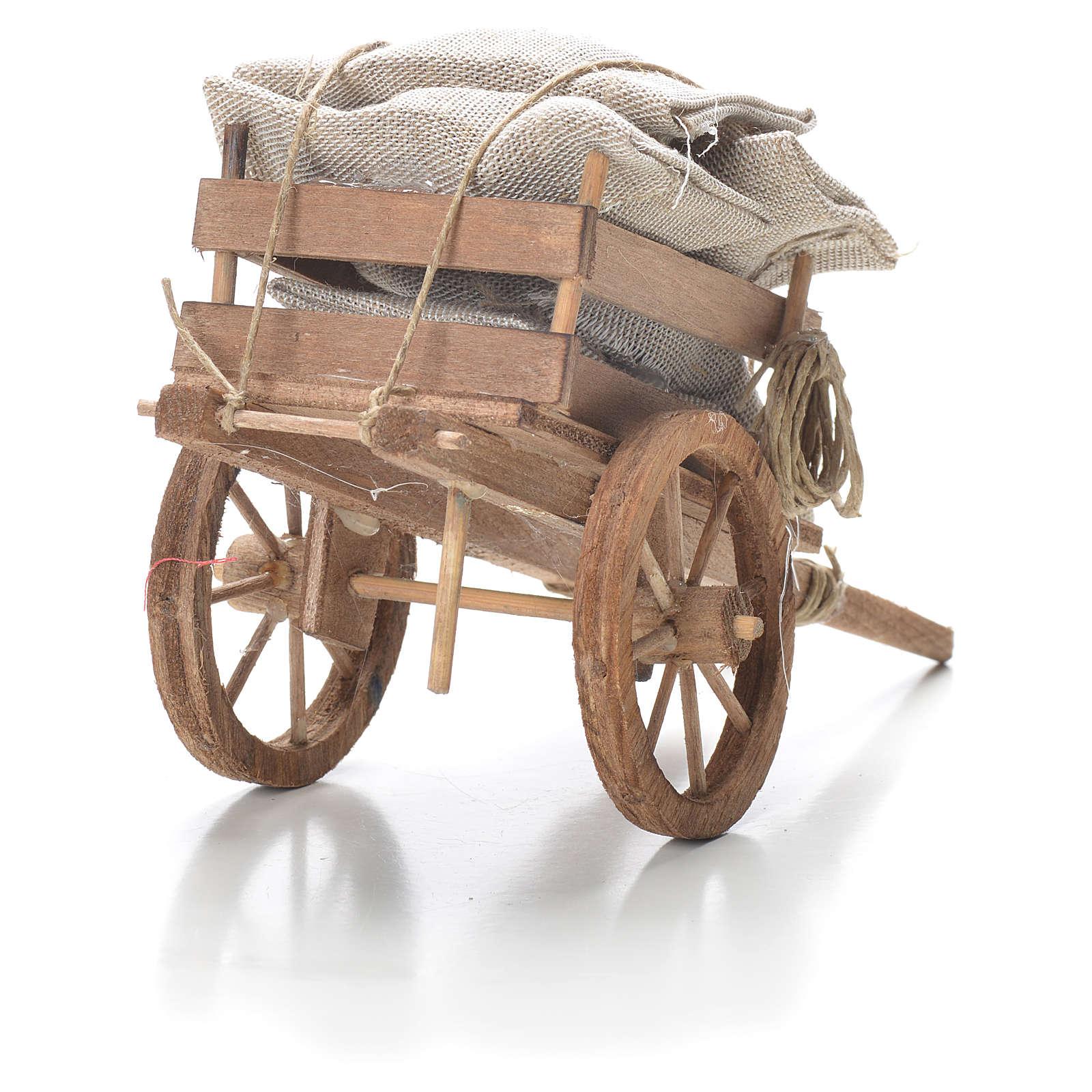 Carro con sacchi presepe napoletano 10x18x8 cm 4