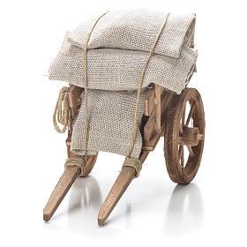 Carro con sacchi presepe napoletano 10x18x8 cm s4