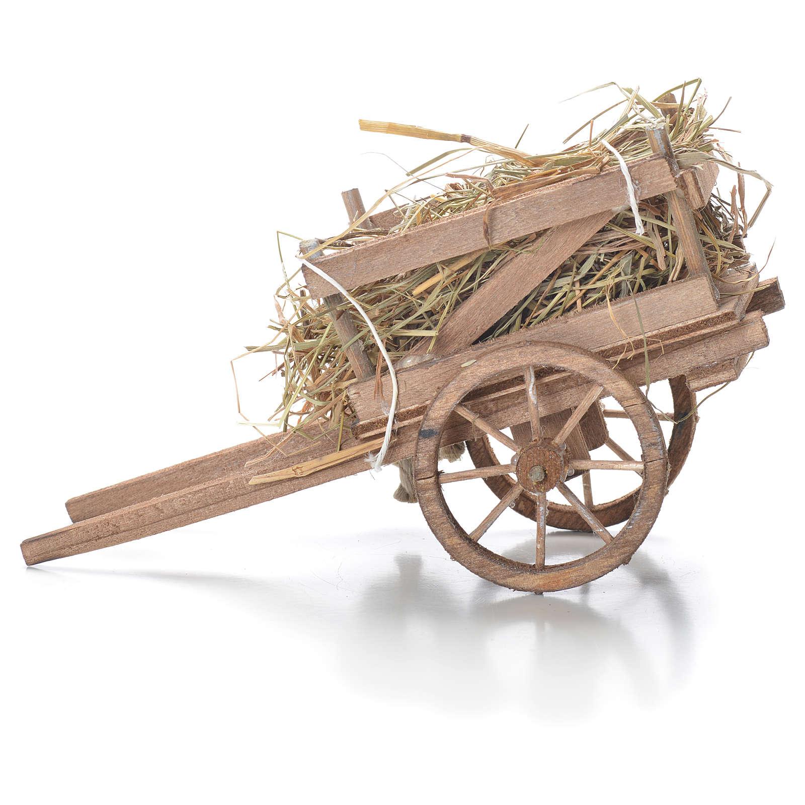 Cart with hay, Neapolitan Nativity 10x18x8cm 4