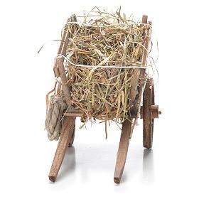 Cart with hay, Neapolitan Nativity 10x18x8cm s4