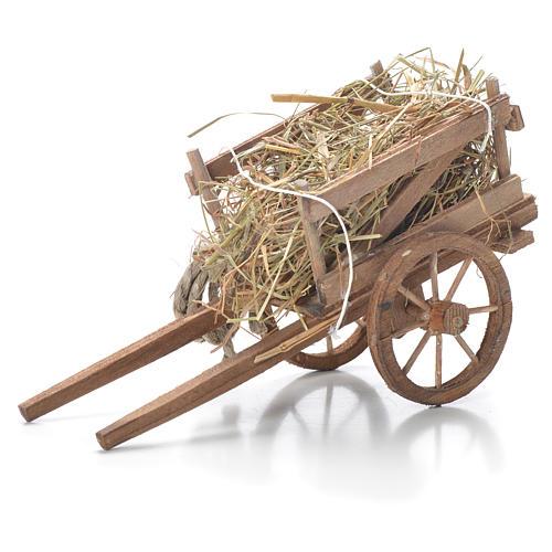 Cart with hay, Neapolitan Nativity 10x18x8cm 1