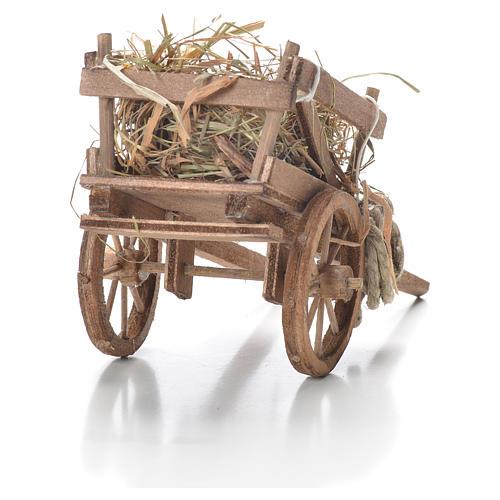 Cart with hay, Neapolitan Nativity 10x18x8cm 3