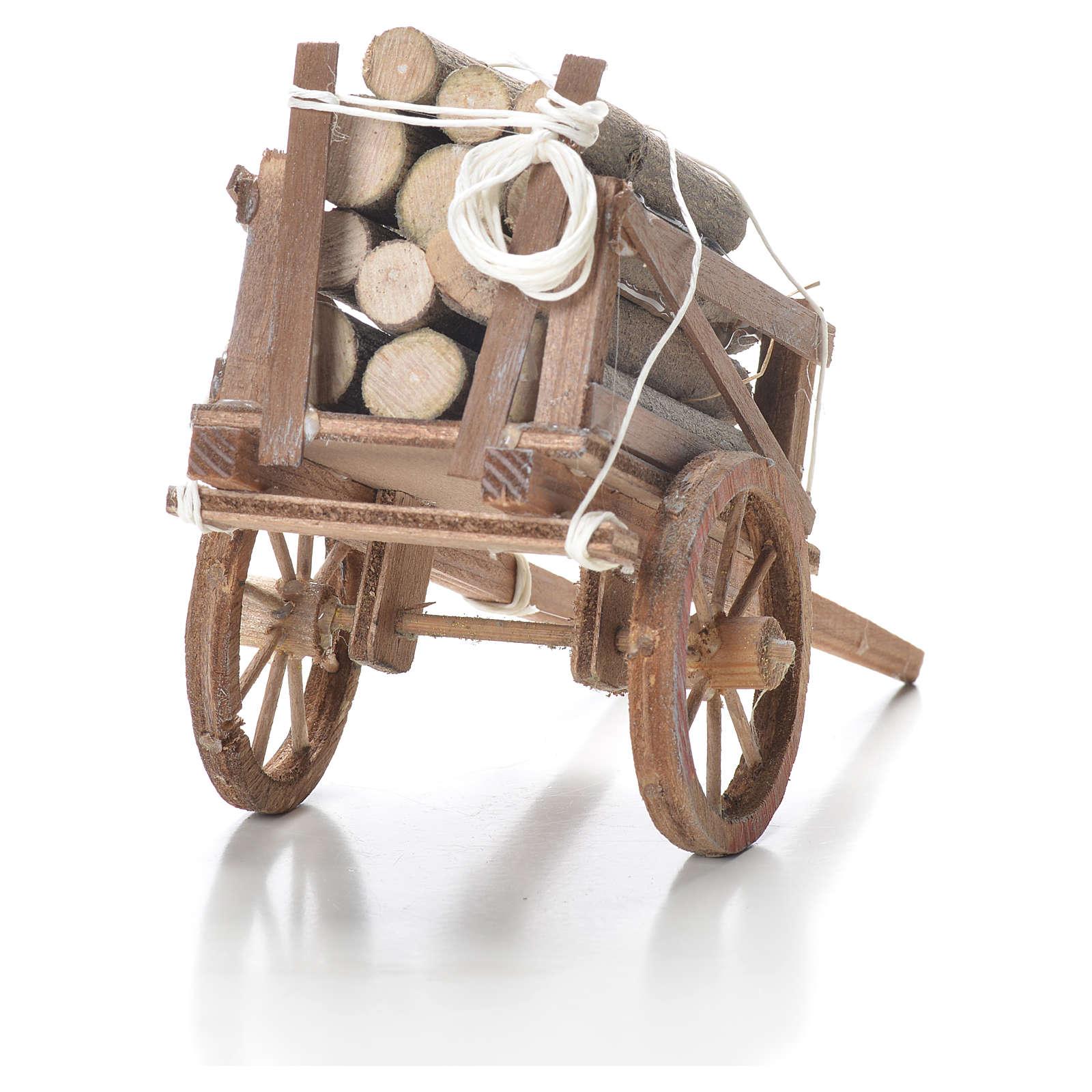 Carro con legname presepe napoletano 10x18x8 cm 4