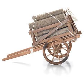 Carro con legname presepe napoletano 10x18x8 cm s2