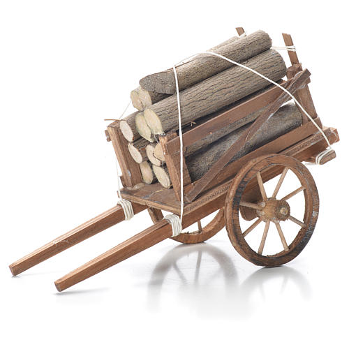 Carro con legname presepe napoletano 10x18x8 cm 1