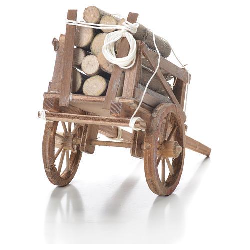 Carro con legname presepe napoletano 10x18x8 cm 3