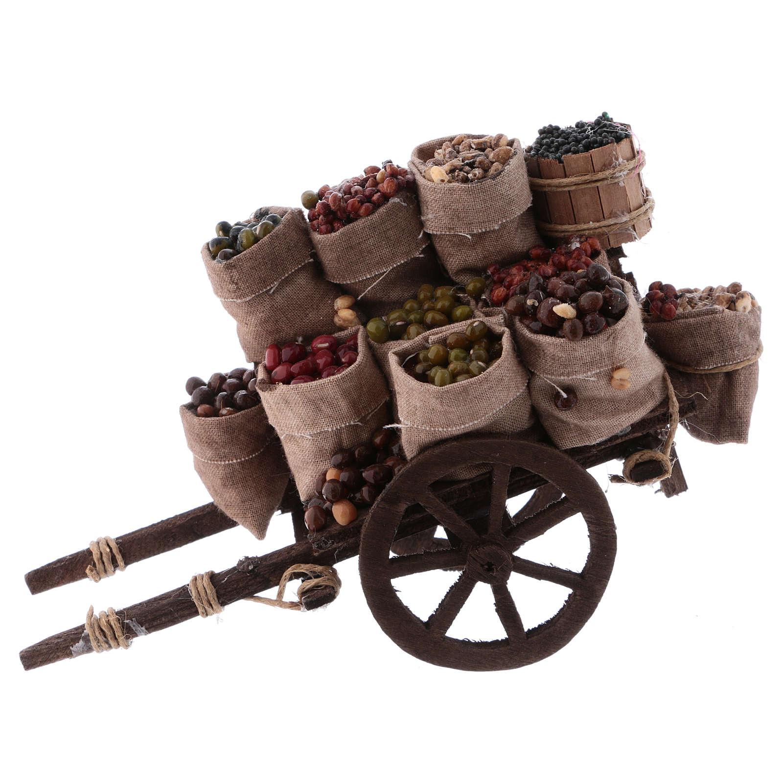 Cart with dried fruit sacks, Neapolitan Nativity 10x18x8cm 4