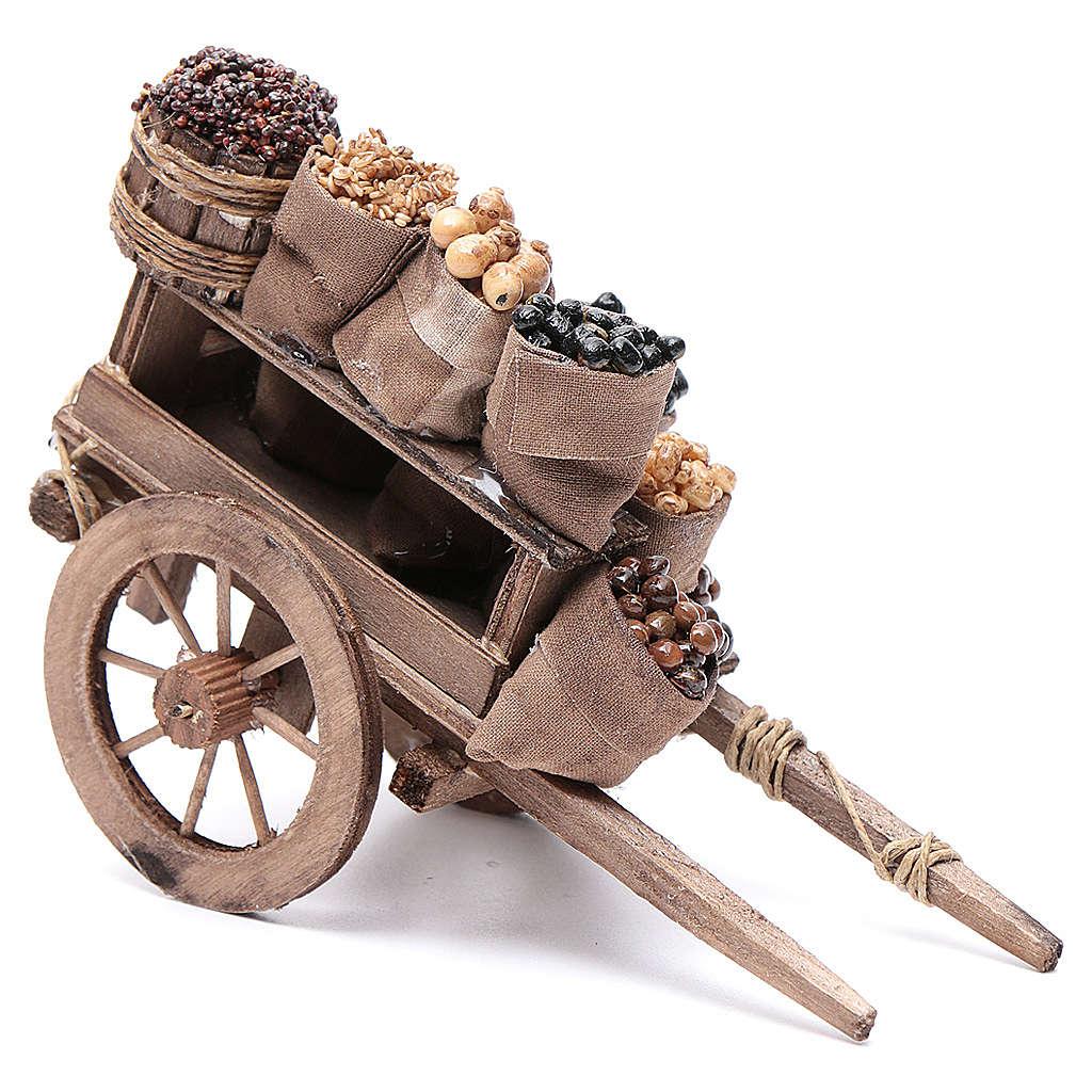 Carro con sacchi di frutta secca presepe Napoli 10x18x8 cm 4