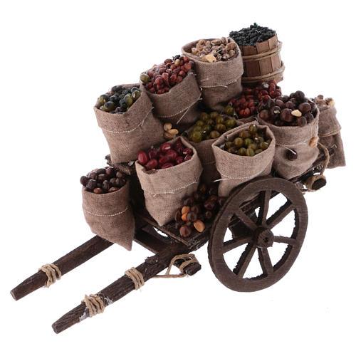 Carro con sacchi di frutta secca presepe Napoli 10x18x8 cm 1