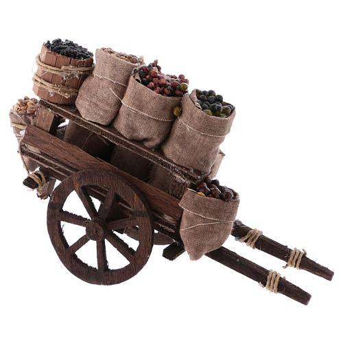 Carro con sacchi di frutta secca presepe Napoli 10x18x8 cm 3