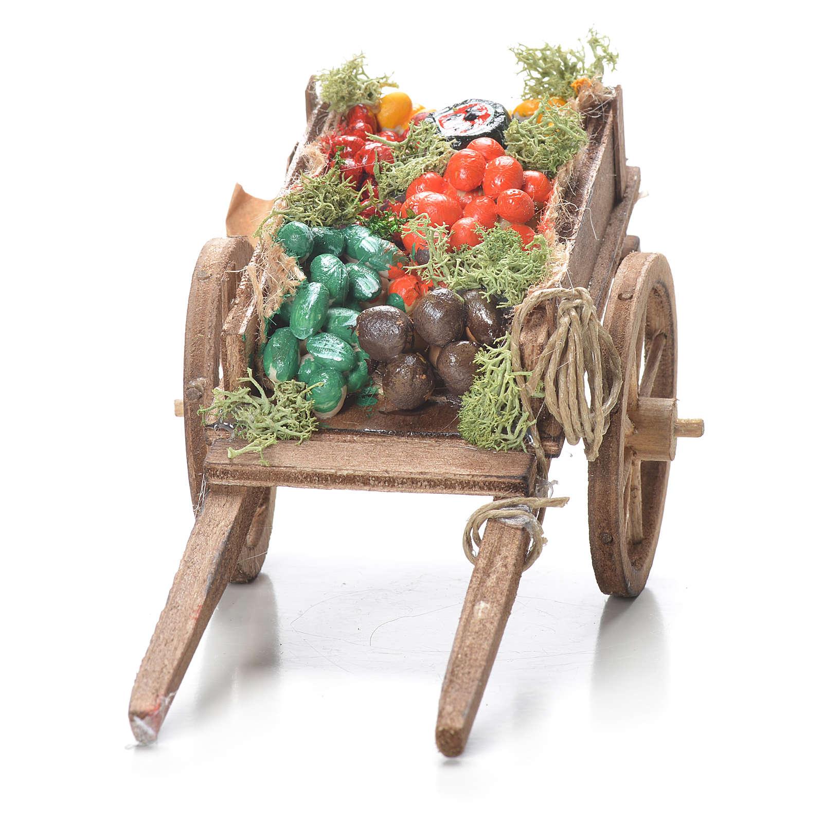 Carro di frutta sfusa presepe Napoli 10x18x8 cm 4