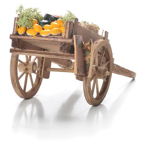 Carro di frutta sfusa presepe Napoli 10x18x8 cm 3