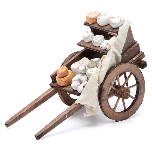 Cart with cheeses, Neapolitan Nativity 10x18x8cm 1