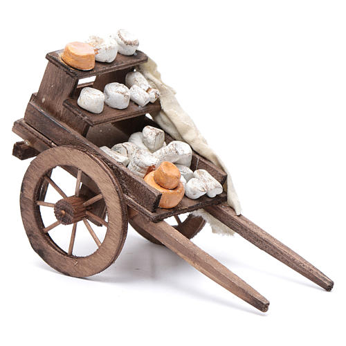 Cart with cheeses, Neapolitan Nativity 10x18x8cm 2