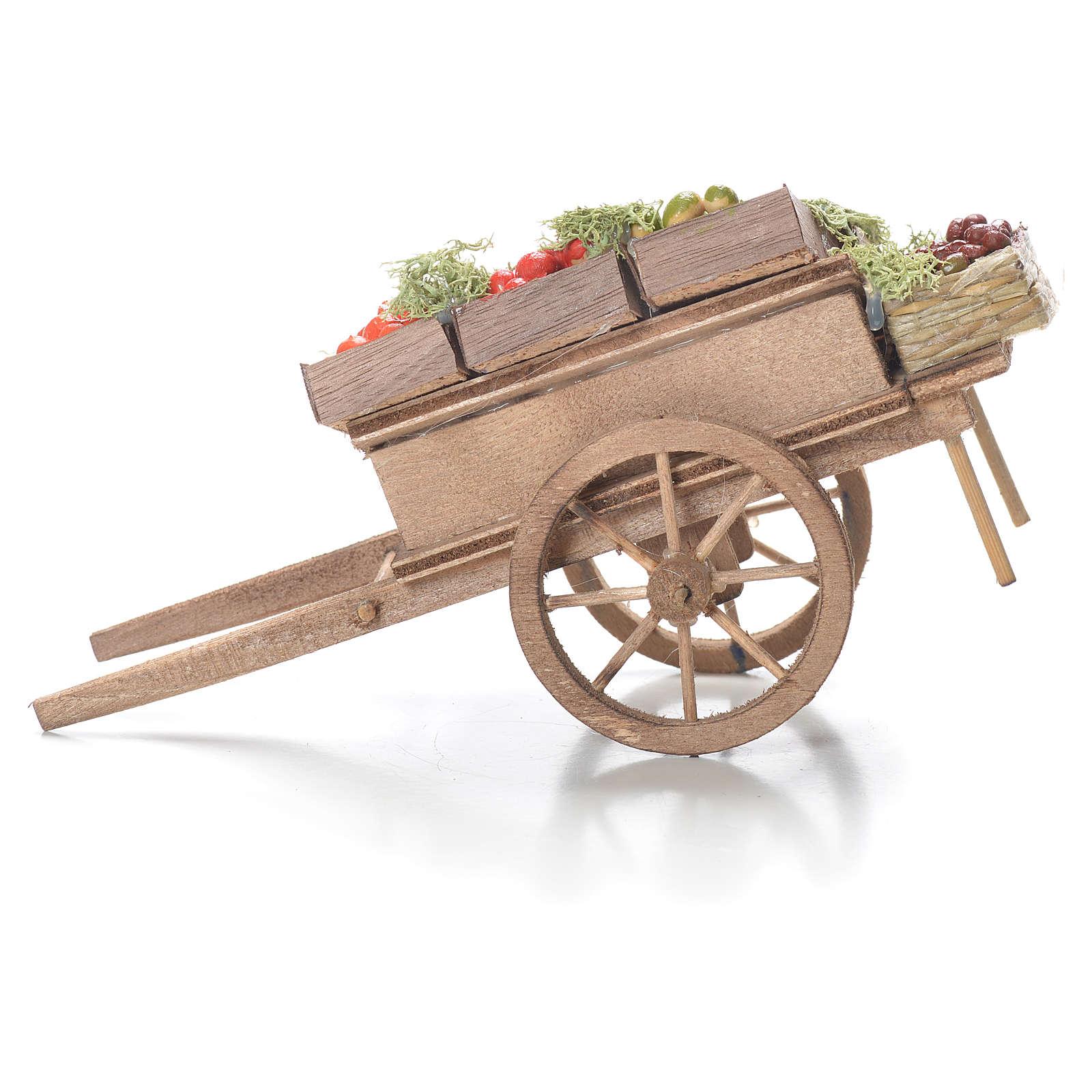 Carreta con cajas de fruta belén napolitano 10x18x8 cm 4