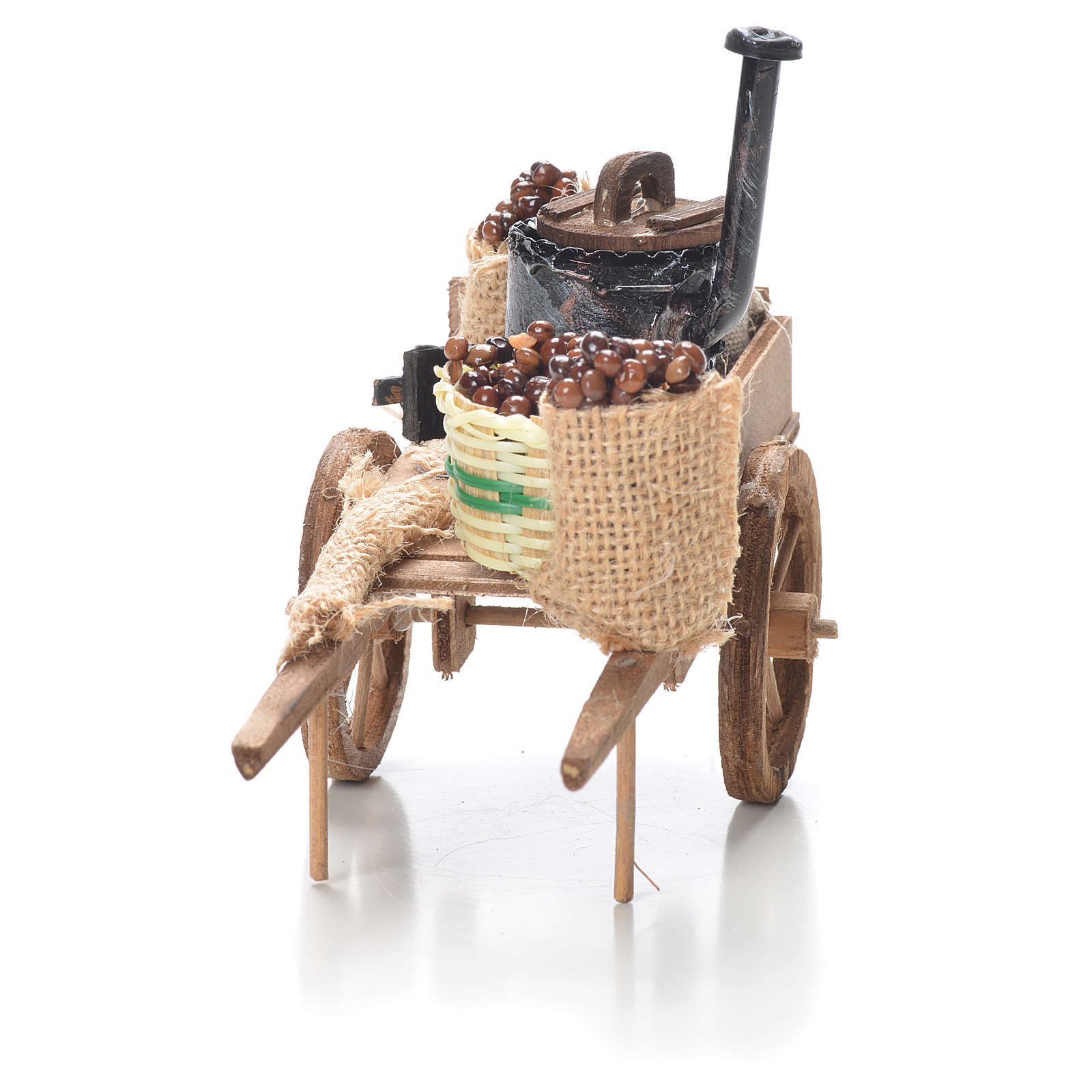 Cart with chestnuts, Neapolitan Nativity 10x18x8cm 4