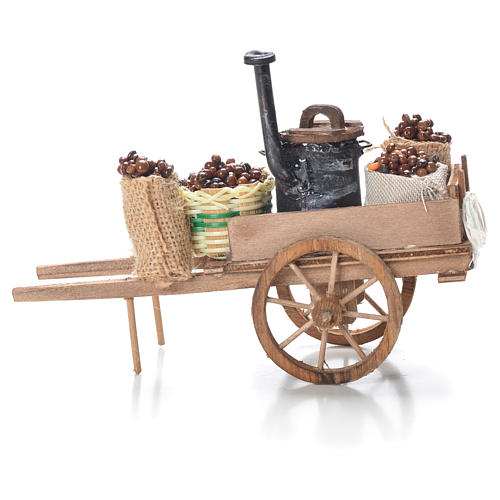 Cart with chestnuts, Neapolitan Nativity 10x18x8cm 2