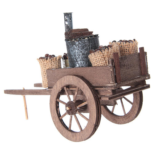 Carro con castañas belén napolitano 10x18x8 cm 8