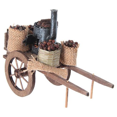 Carro delle caldarroste presepe napoletano 10x18x8 cm 6