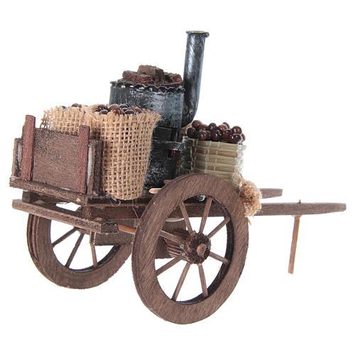 Carro delle caldarroste presepe napoletano 10x18x8 cm 7
