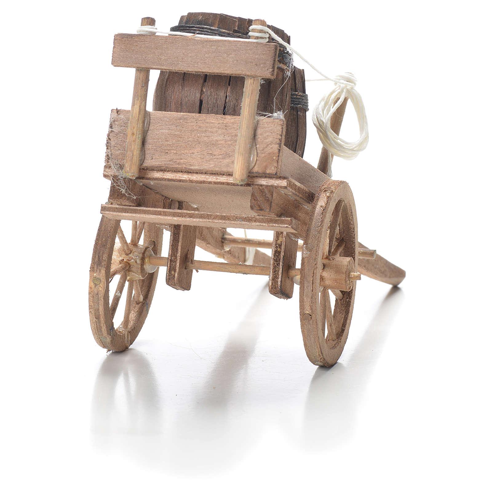 Carro con barriles belén Nápoles 10x18x8 cm 4