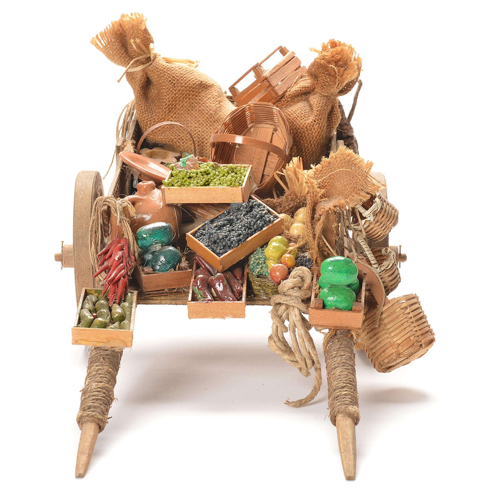 Cart with fruit, Neapolitan Nativity 24cm 4