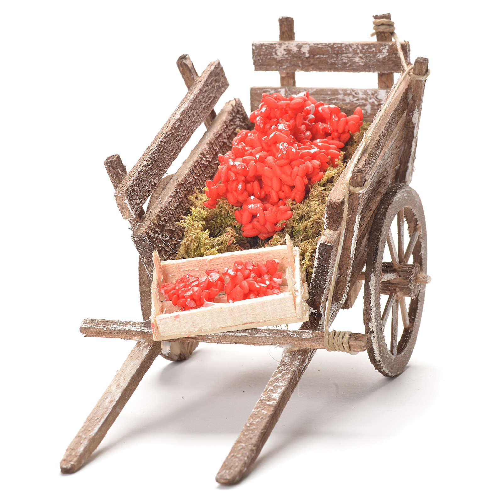 Cart with tomatoes, Neapolitan Nativity 12x20x8cm 4