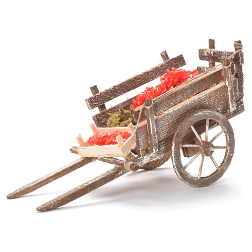 Cart with tomatoes, Neapolitan Nativity 12x20x8cm 1