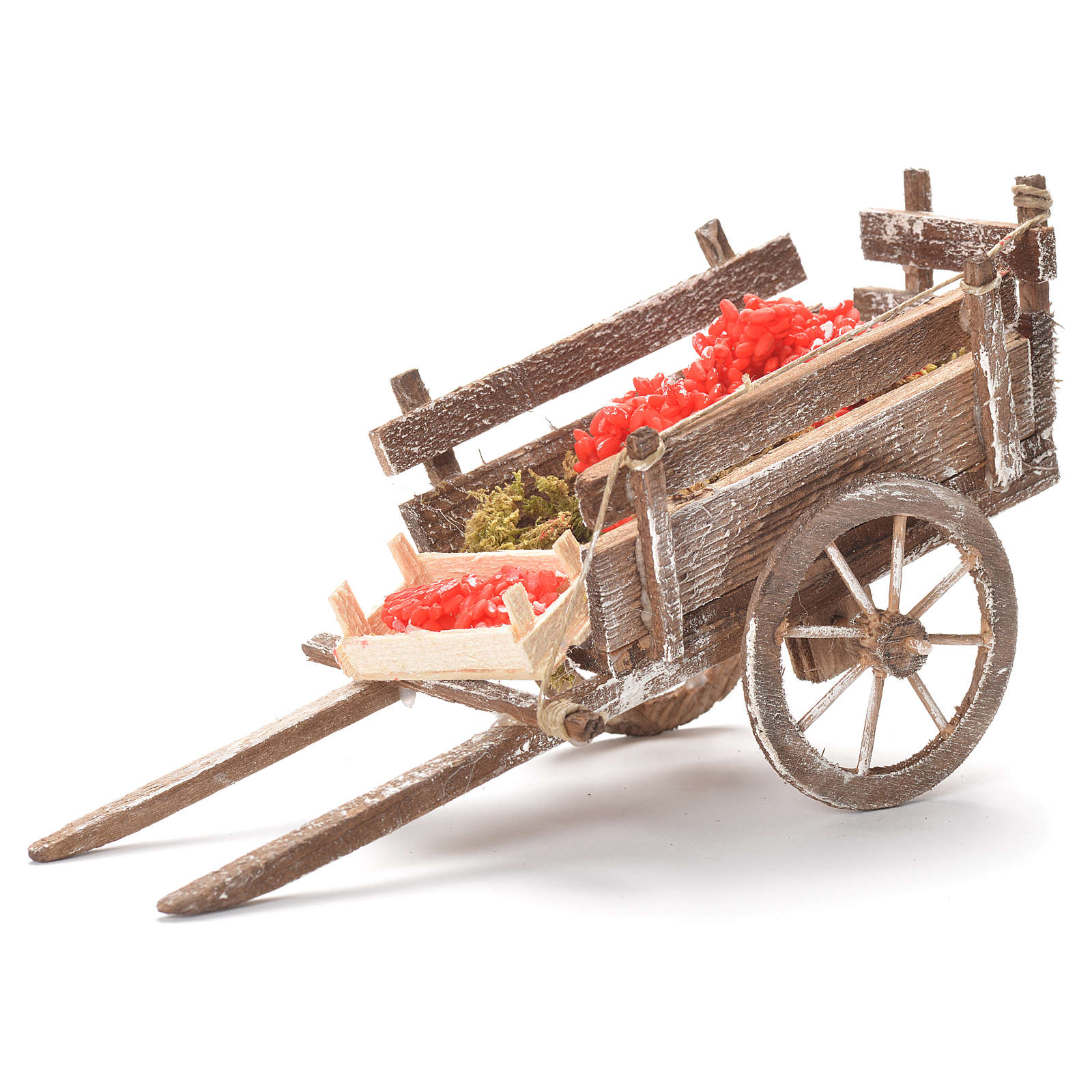 Cart with tomatoes, Neapolitan Nativity 12x20x8cm 4