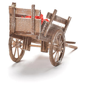 Cart with tomatoes, Neapolitan Nativity 12x20x8cm s3